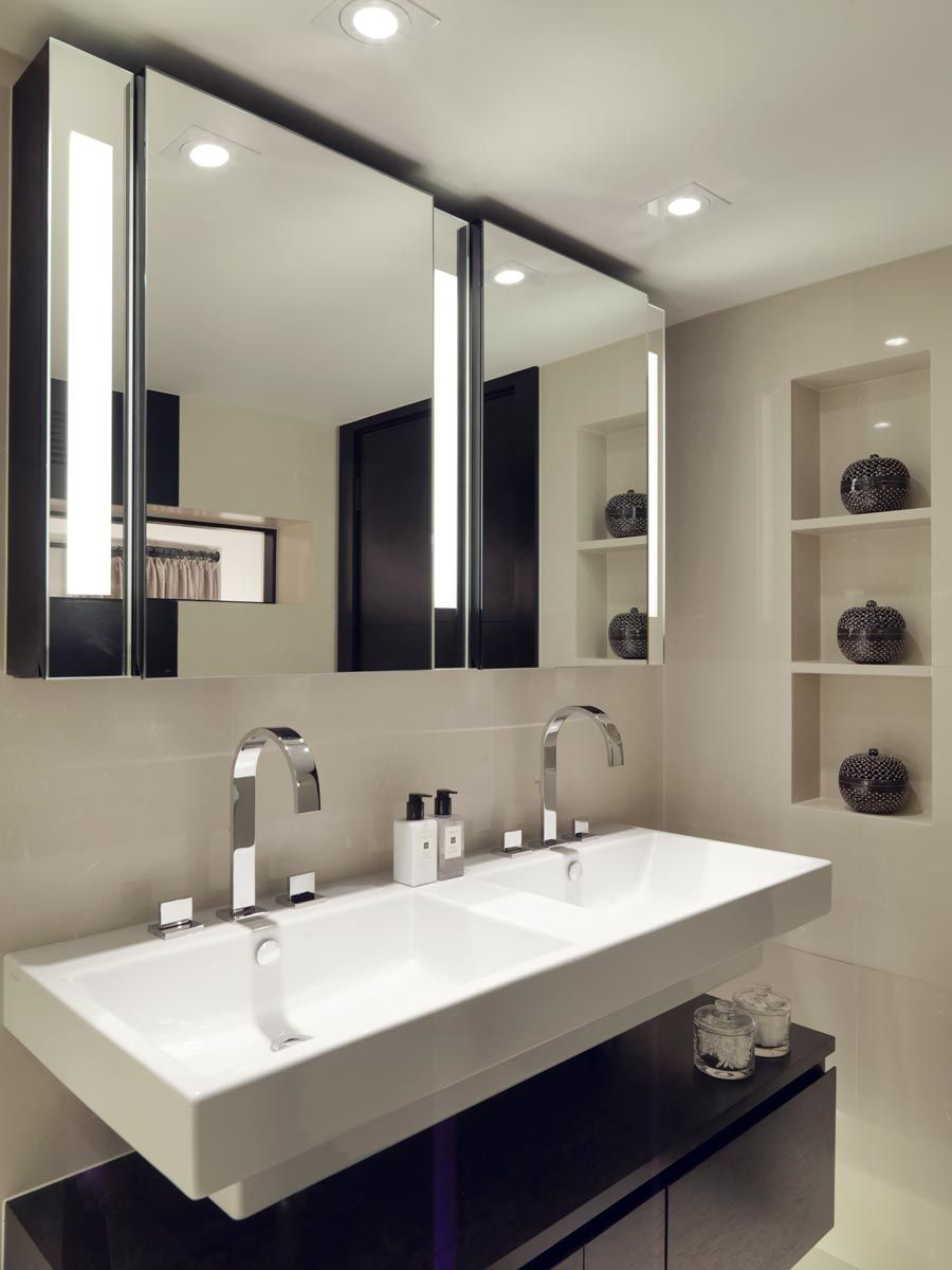 Beautifully sculpted double basin gives this modern bathroom a designer edge.