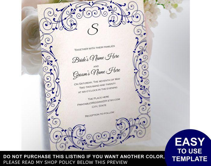 Navy blue vintage scroll Invitation Template| DIY wedding invite ...