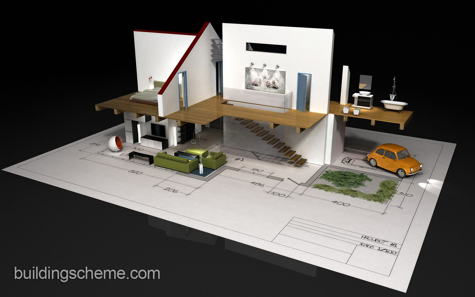 Good 3D Building Scheme And Floor Plans Ideas For House And Office Design: 3D  Building