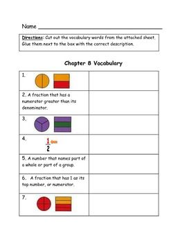 Go Math Bundled Set Of Vocabulary Match Worksheets Ch 1 12 3rd