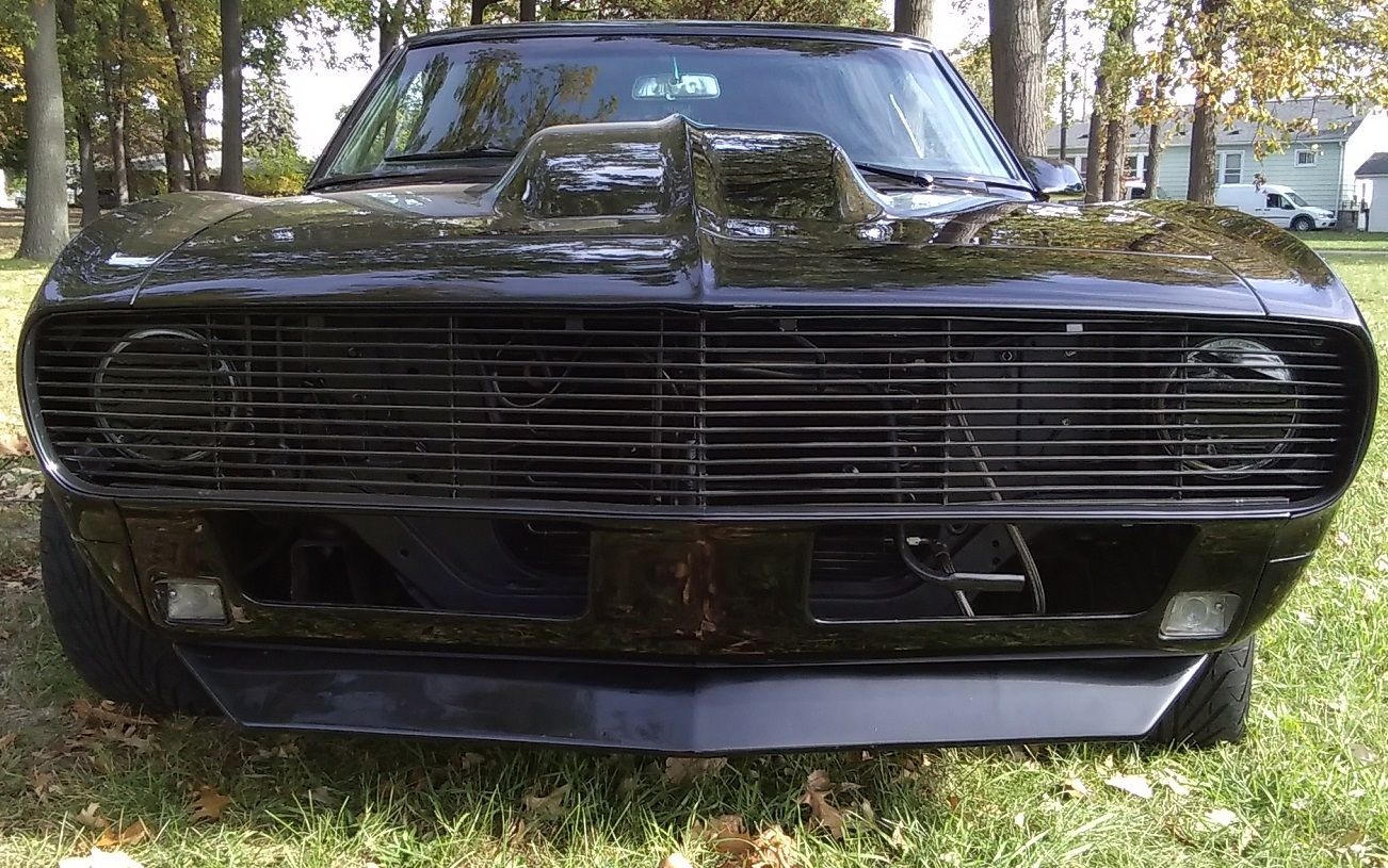 hight resolution of 1968 camaro ls3 with a one piece phantom grill led halo headlights and running lights and a 4 steel cowl hood