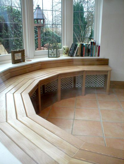 wooden bench bay window seat solution for round window