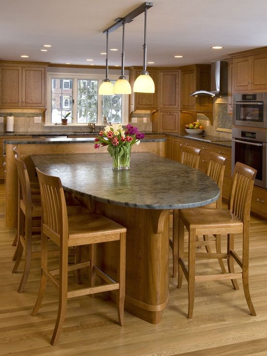 Round Island Design Ideas Pictures Remodel And Decor Kitchen Island Dining Table Kitchen Island Table Combination Kitchen Island Table