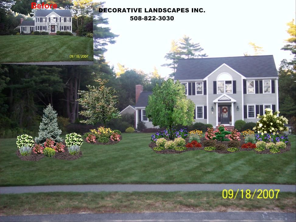 Large Flower Bed For Front Yard Evergreen Shrubs 400 x 300