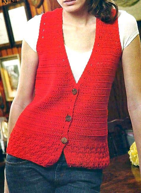 1863e52665db9 tejidos artesanales  chaleco en rojo onda casual  Crochet sleeveless vest  with buttons on the front