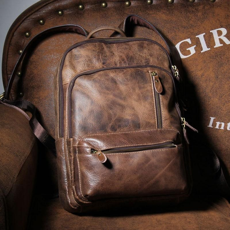 8147feb041 Handmade Leather Mens Cool Backpack Sling Bag Large Black Travel Bag H –  iwalletsmen