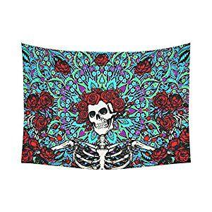 "Amazon.com: ADEDIY Fashion Custom Grateful Dead Sugar Skull Rose Cotton Linen Tapestry Wall Decor Living Room Art DIY 60""x 80"": Home & Kitchen"