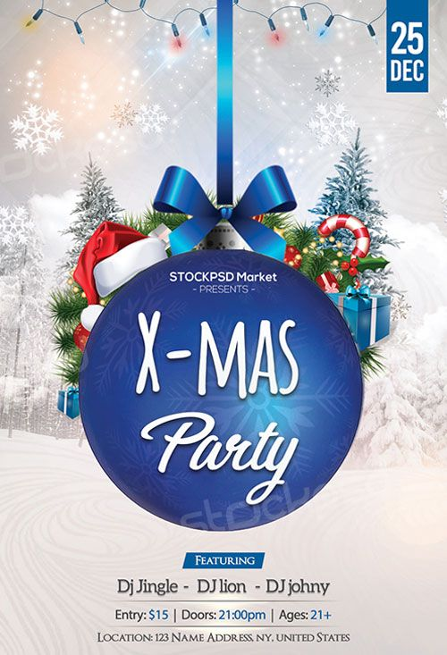 Blue Christmas Party Free Flyer Template flyer Pinterest - christmas invite template free
