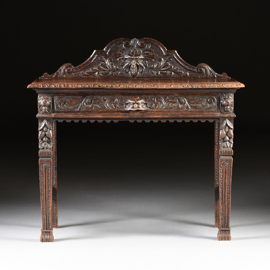 A victorian gothic revival carved oak writing table - Muebles antiguos franceses ...