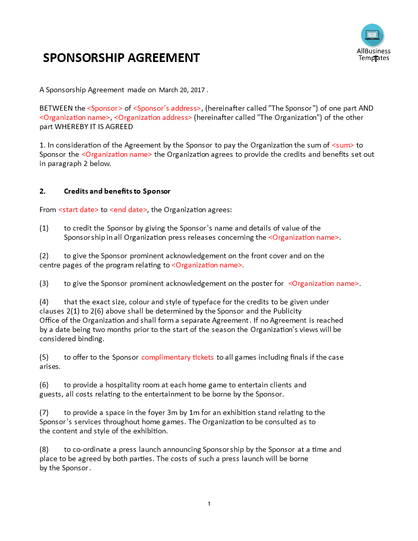 Sponsorship Agreement  Sponsorship Agreement  Templates