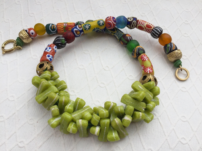 Nice strand Krobo trade bicone king beads Ghana