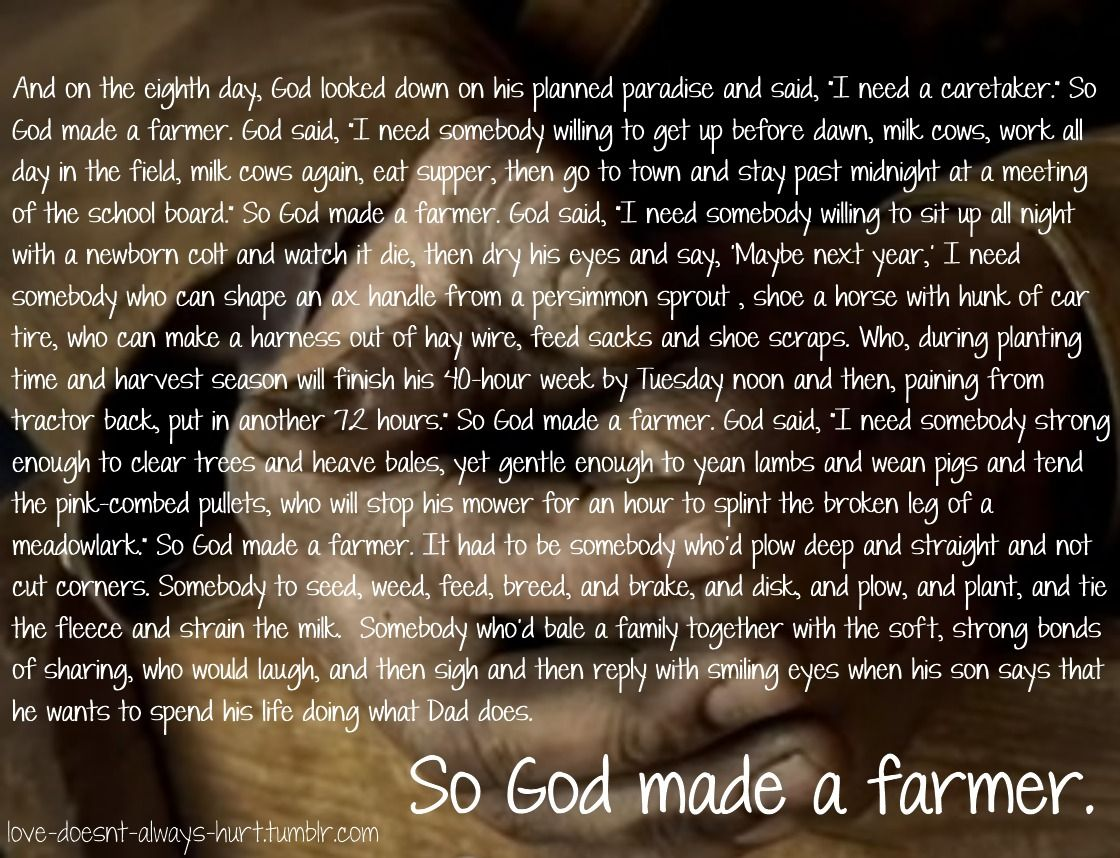 4 H Quotes So God Made A Farmer 4H  Pinterest  Farmers Ffa And