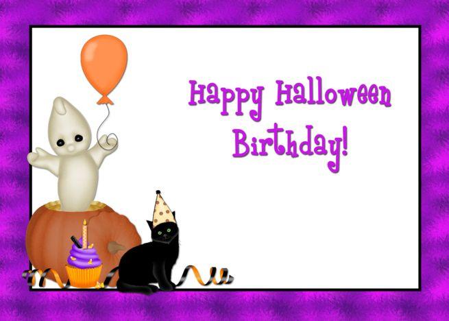 Halloween Birthday Black Cat Ghost Pumpkin and Balloon card