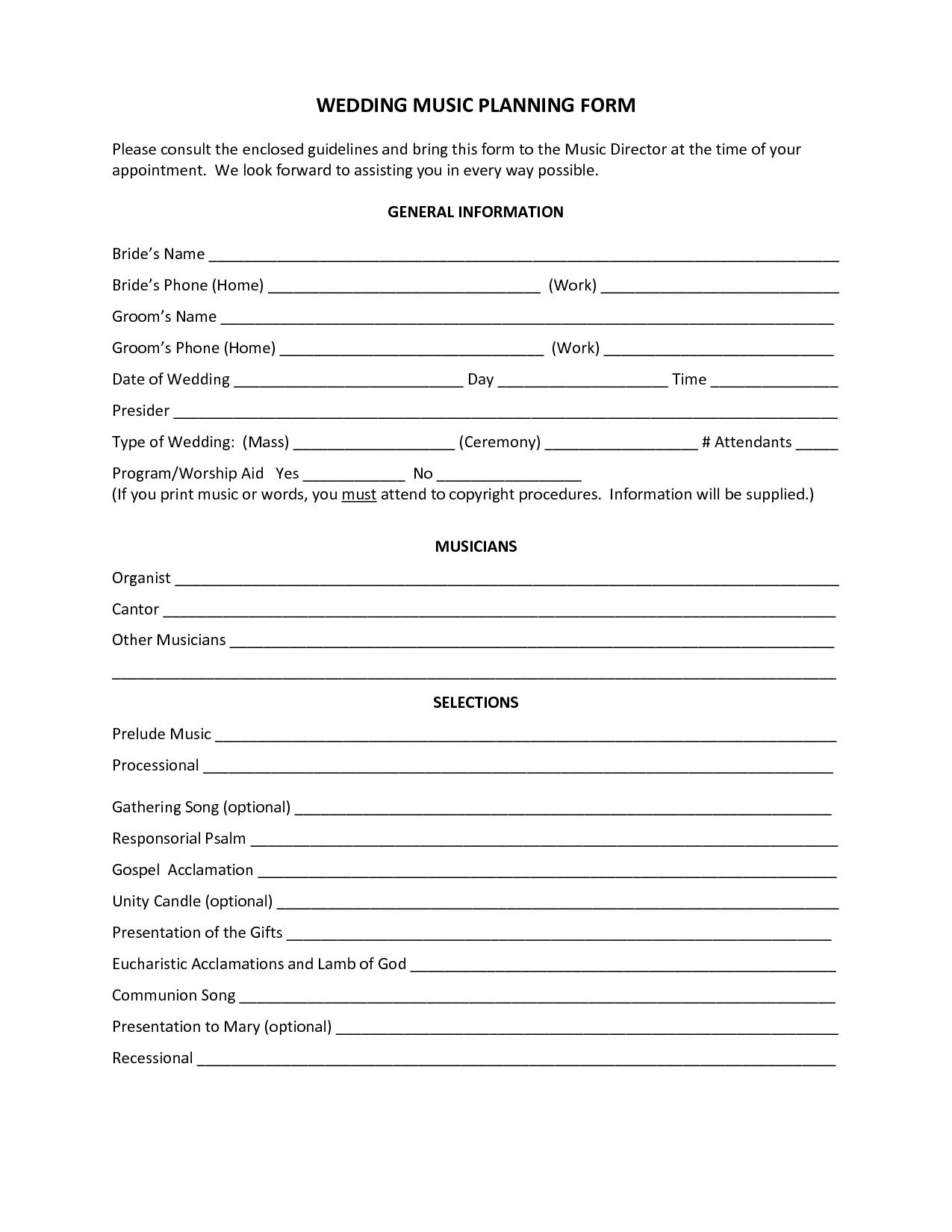 Wedding Planning Consultation Form Accessoires Pour