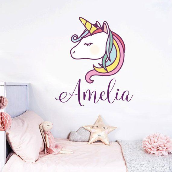 0f2fbfc438 Unicorn Wall Decal Colorful Custom Name Decals Personalized Girls Name  Vinyl Decals Sticker Baby Girl Name