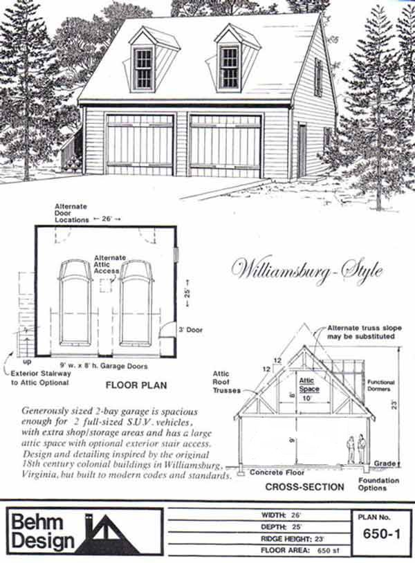 Colonial style 2 car garage plan with loft 650 1 by behm for Garage plans pdf