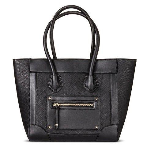Women's Zip Closure Tote Bag Handbag Black - Mossimo Supply Co.™