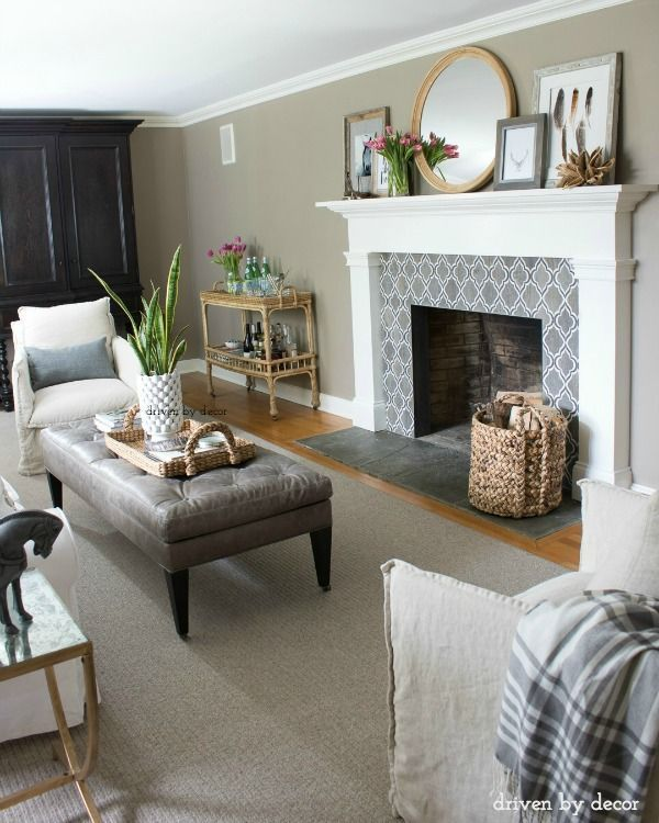 Our living room with newly remodeled fireplace