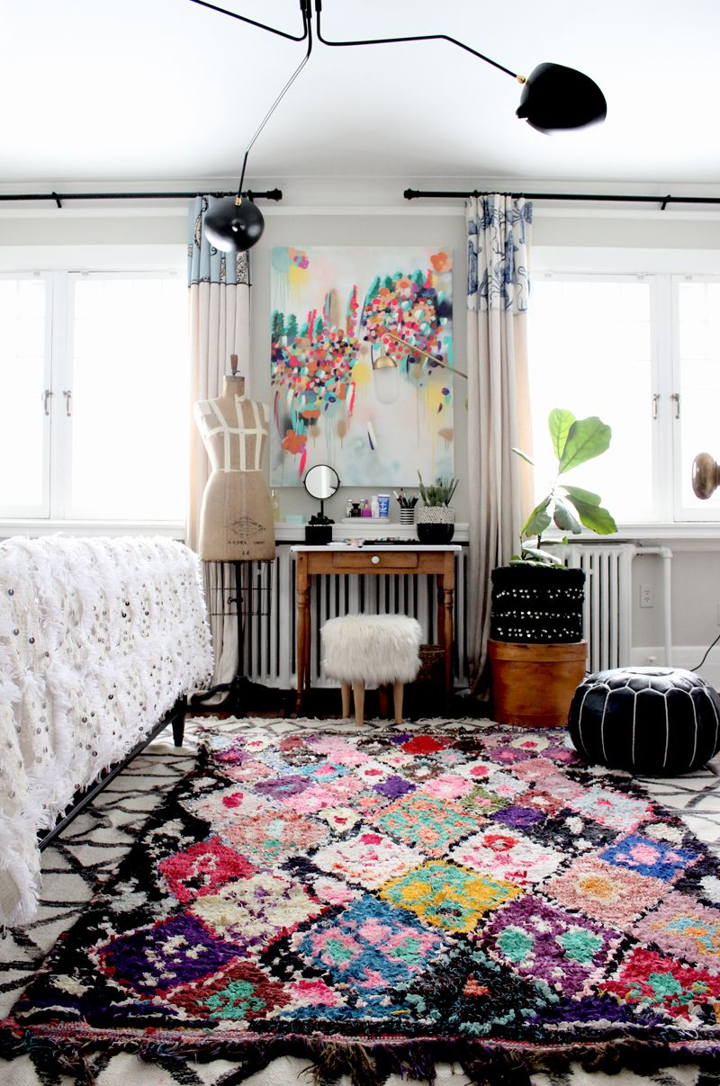 prodigious Artsy Bedrooms Part - 10: Such a beautiful boho artsy bedroom! That Boucherouite rug from Baba Souk