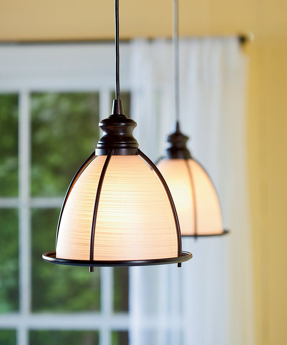 Take a look at this Glass & BrushedBronze Pendant Light