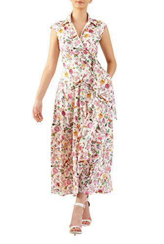 d2a1d0aa718f0 eShakti Womens Side ties floral bird cotton maxi dress 3X24W Regular ...