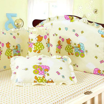 High Quality Precious 100% Cotton Cartoon Character Embroidered Baby Nursery Bed Sets 4-6-PC Sets 21 Styles
