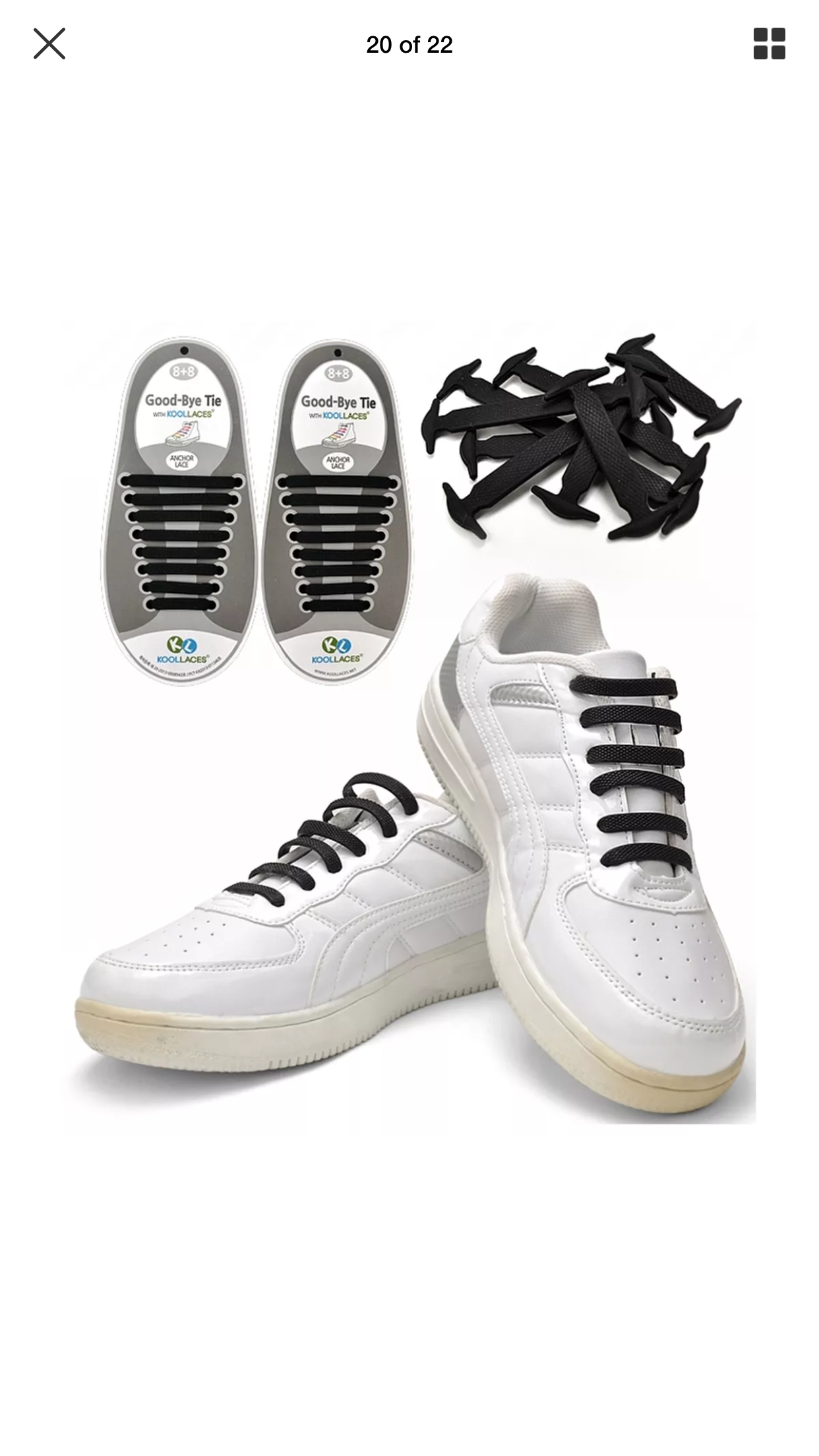 Black White No-Tie Elastic Silicone Shoe Laces Tieless Shoe Laces For Running US