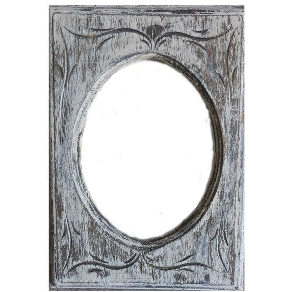 White Picture Oval Frame Distressed Wood 5\