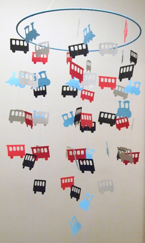 Train Hanging Paper Mobile. $40.00, via Etsy.