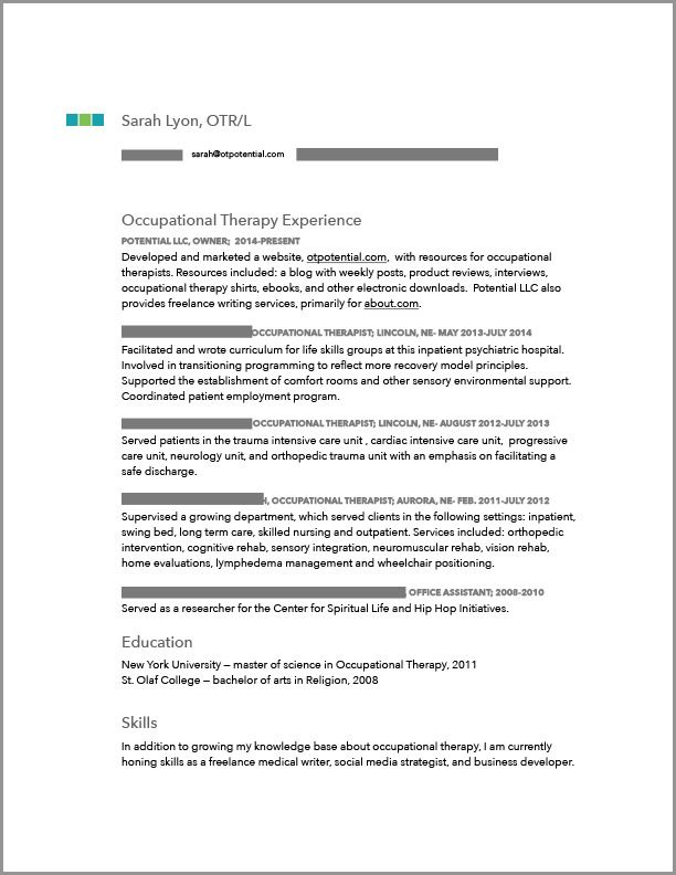 OT Sample Resume OT Things Occupational Therapy Jobs Occupational Therapy Assistant