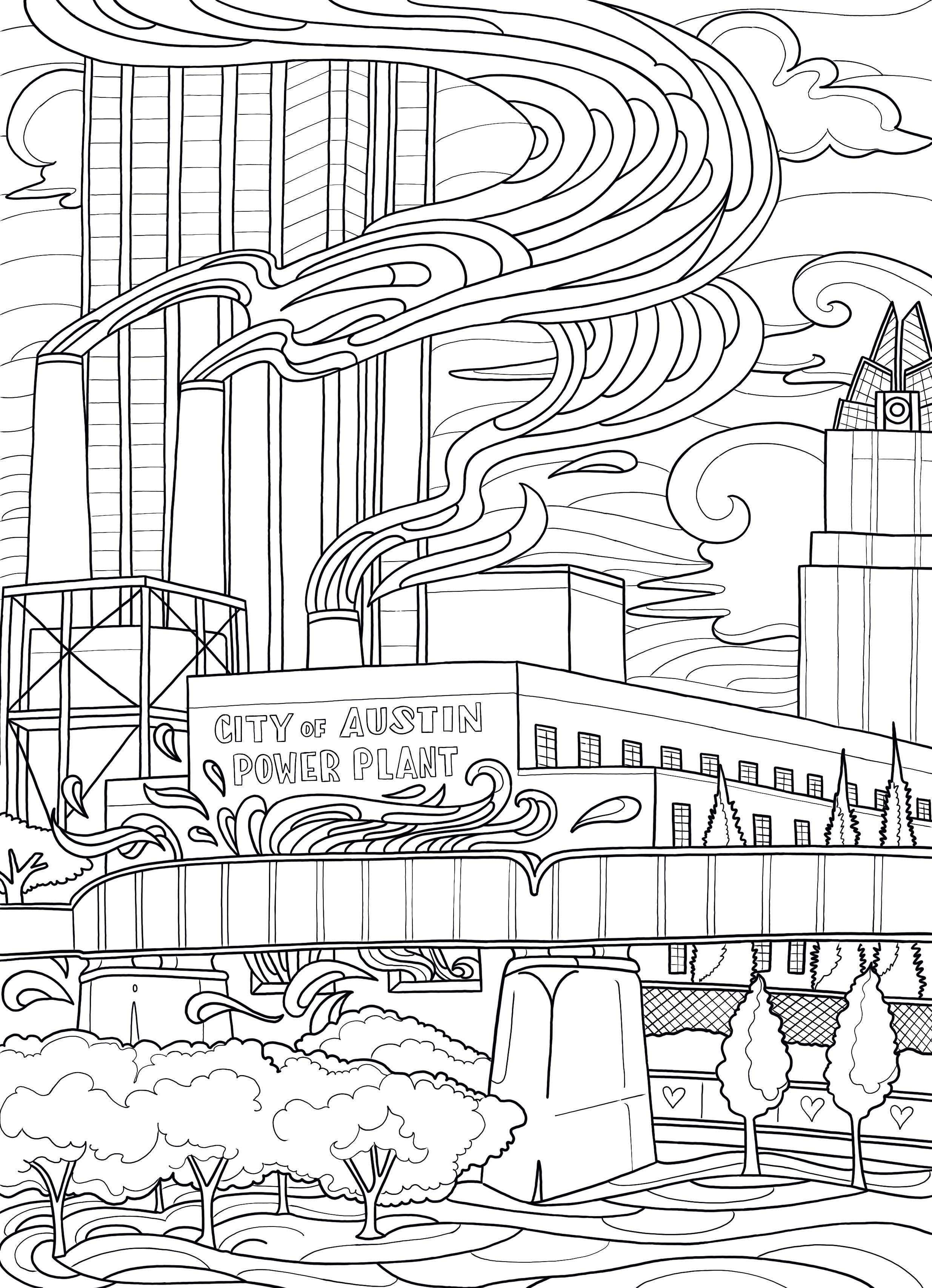 Power Plant Coloring Page