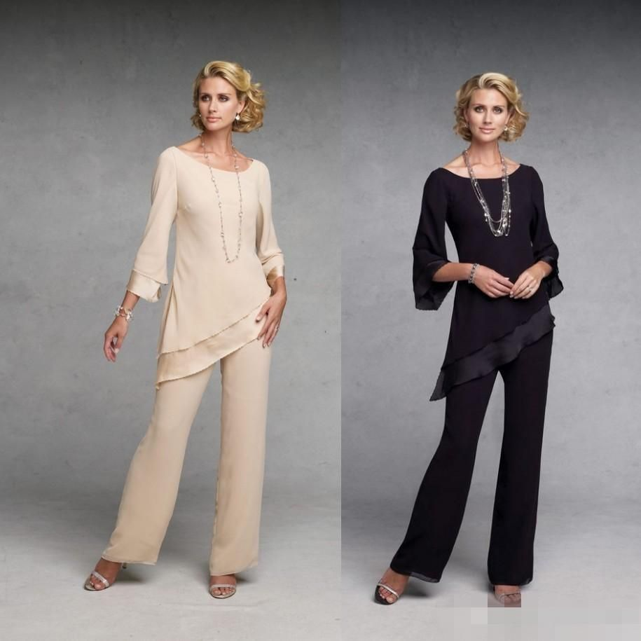 Elegant sexy 2015 mother of the bride pant suits dresses for Dress pant suits for weddings
