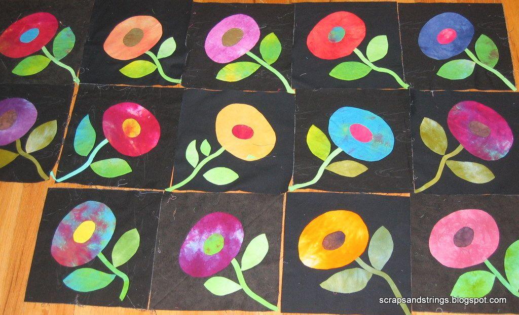 https://flic.kr/p/8q1m3N | More moderal floral applique blocks | I've got a total of 14 finished blocks, working on five more. Blogged scrapsandstrings.blogspot.com/2010/08/blooming-inside.html