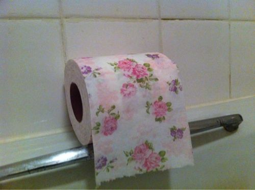 Toilet paper with flower patterns. Also came in colors.