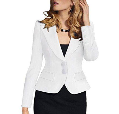 Friendshop Ladies OL Slim Shoulder Pads Lapel Suit Coat Blazer Casual Jacket >>> Click image to review more details.(This is an Amazon affiliate link)
