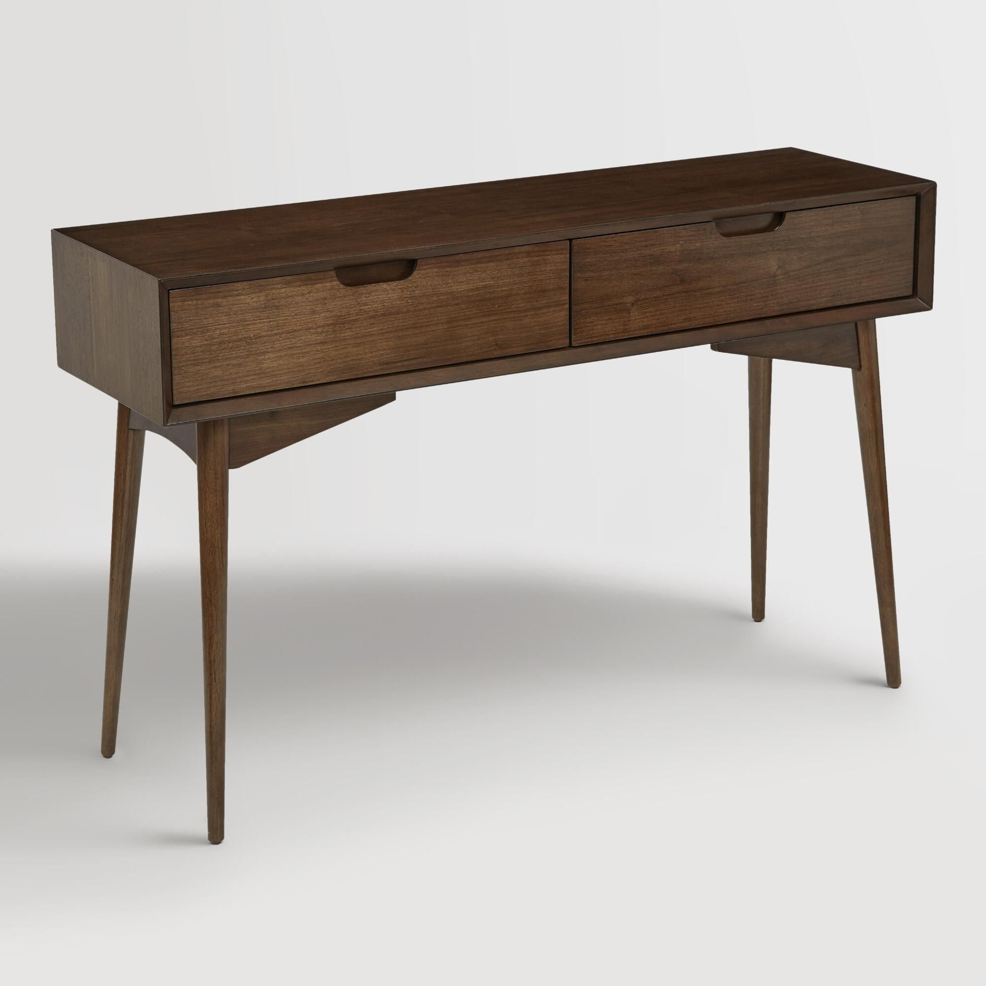 Walnut brown wood brewston console table console tables mid