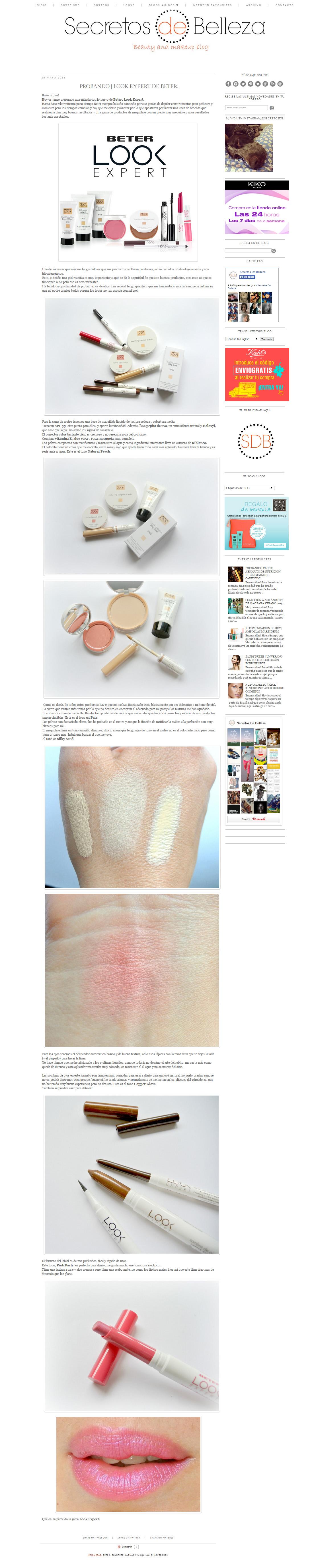 Blog Secretos de Belleza, Mayo 2015. Línea cosmética #LookExpert