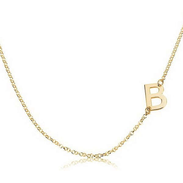 Gold Over Silver Sideways Initial Necklace