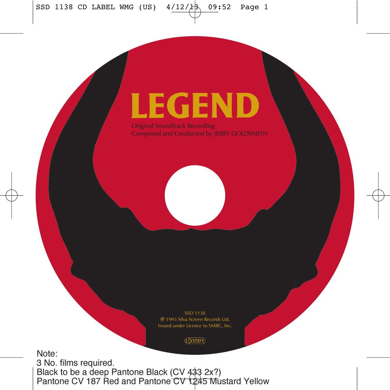 Legend OST CD onbody. Client: Silva Screen Records. Circa 2002. © Sean Mowle.