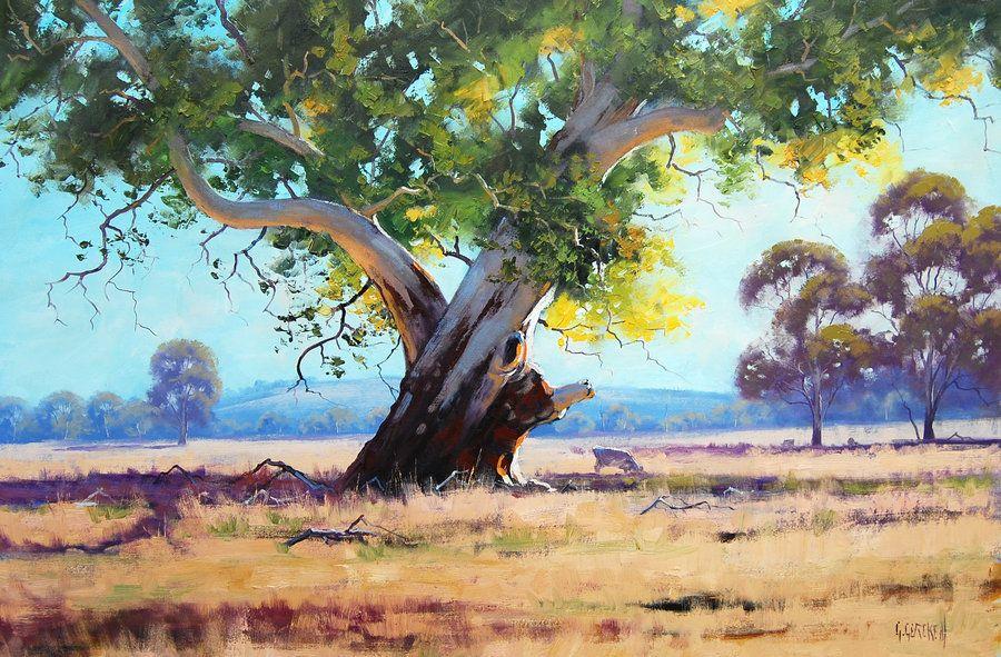 Red Gum Australia By Artsaus Landscape Art Australian Painting