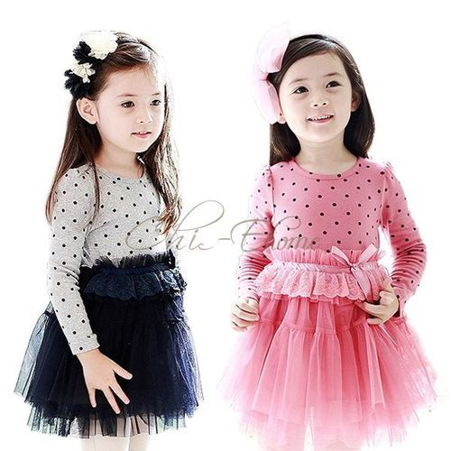 Kids Baby Girls Long Sleeve Tutu Dress Party Spring Summer Casual Dresses 2-7Y