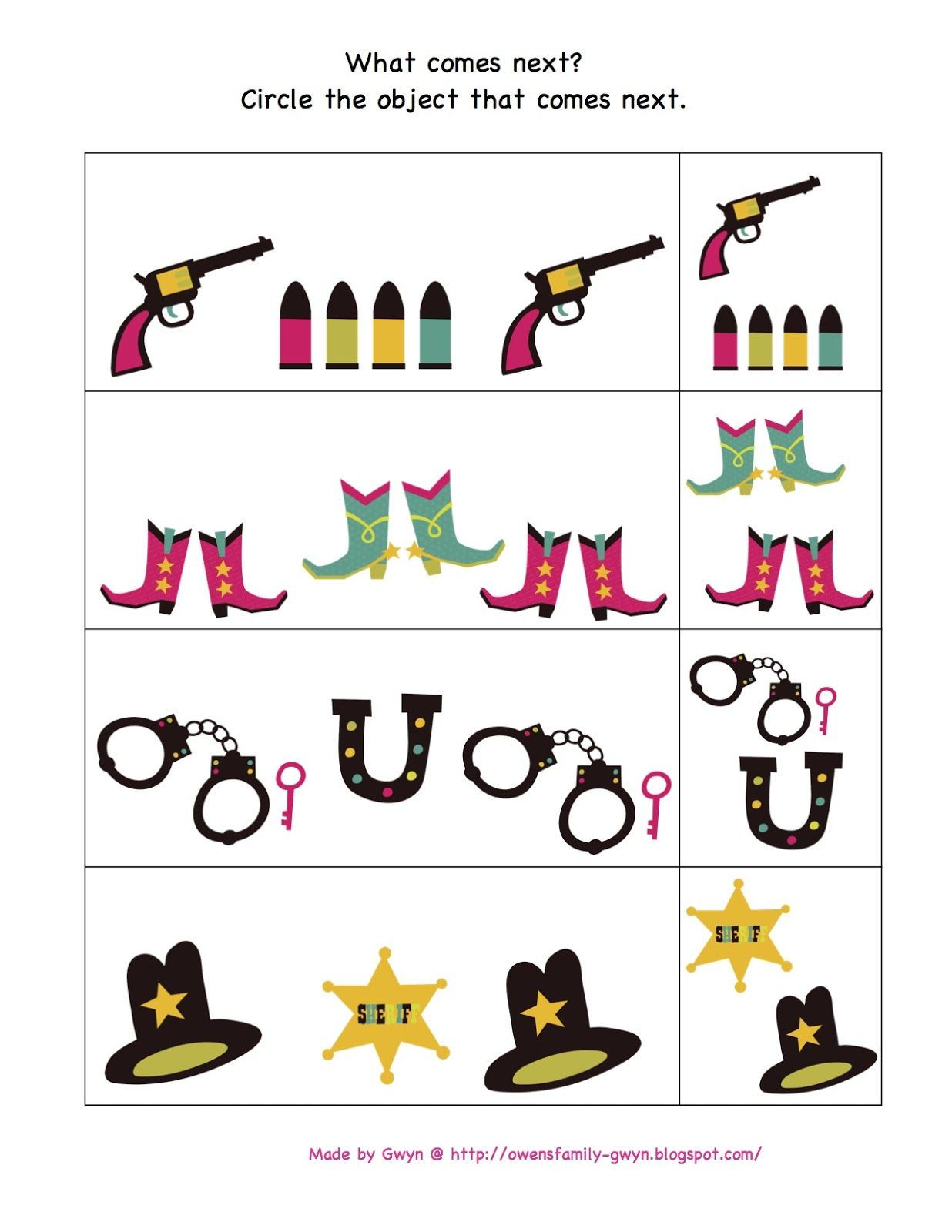 Wild West Worksheet For Preschoolers