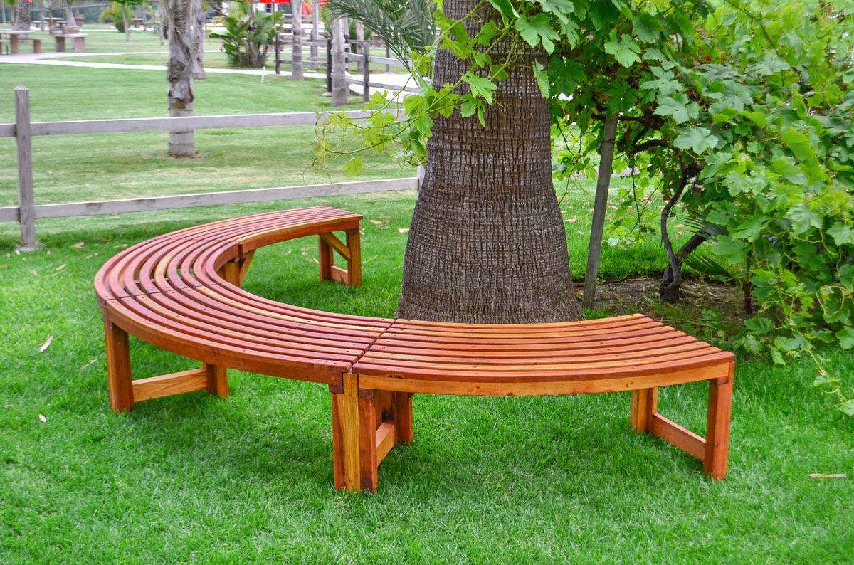 The Miramar Tree Bench Options 10 1 2 Ft Redwood Transparent Premium Sealant Garden Bench Seating Garden Bench Tree Bench