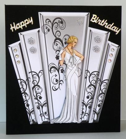 deco style panels with art deco lady on Craftsuprint designed by Maxine Gathercole - made by Suzi Cooper - Printed onto lightweight card then cut out. Mounted base image onto black square card using DST. Added decoupage using 2mm foam pads. Finished with silver holographic peel off greeting