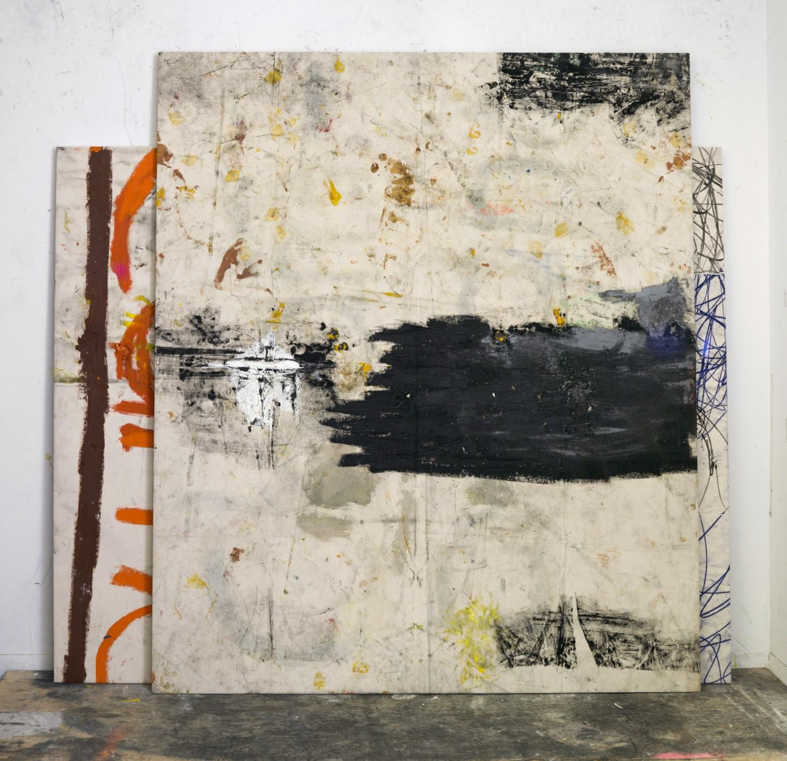 57aeb2fb5 Oscar Murillo - Untitled (stack paintings), oil, dirt and oilstick ...