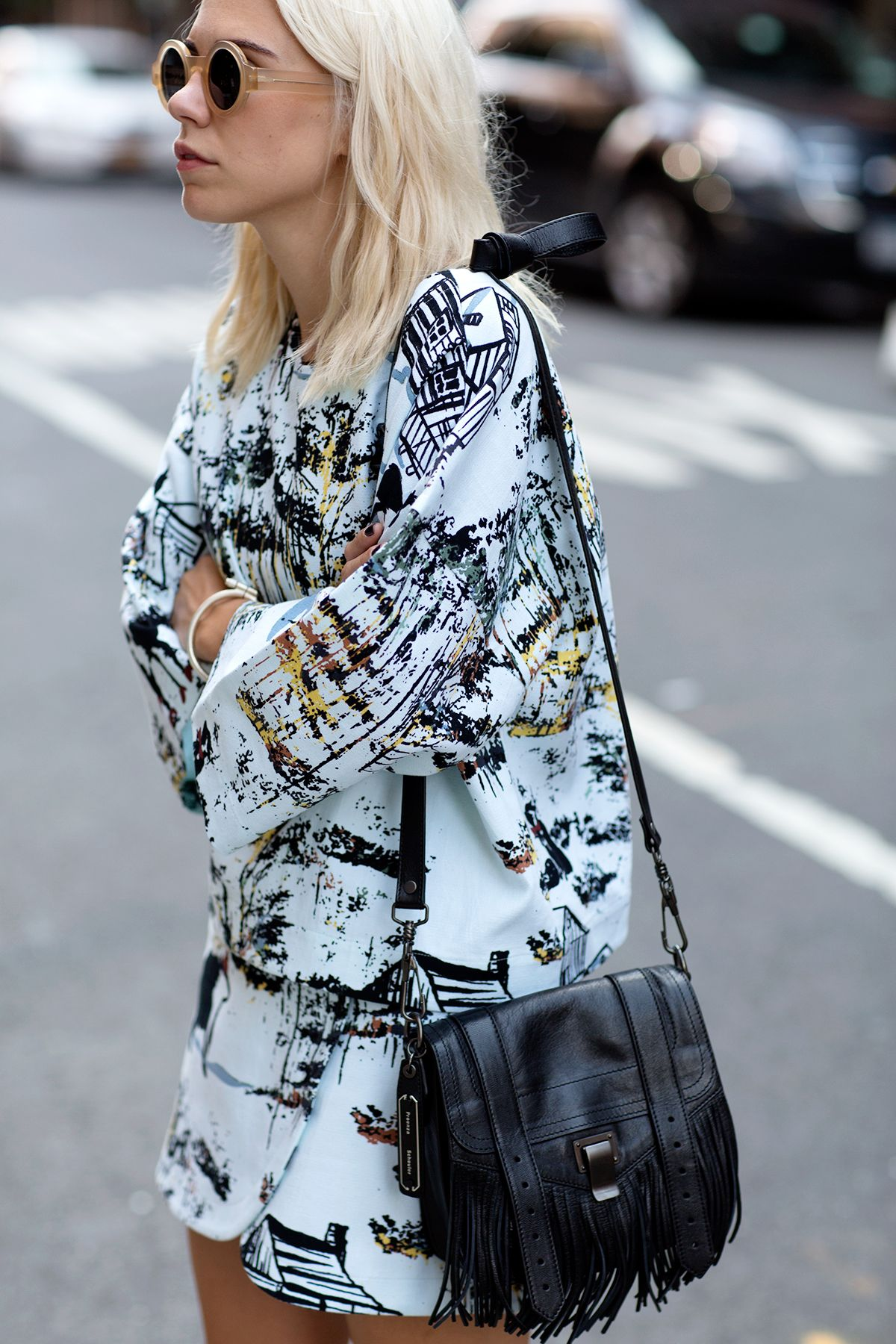 round sunglasses, graphic prints & Proenza Schouler fringe bag #style #fashion #alwaysjudging