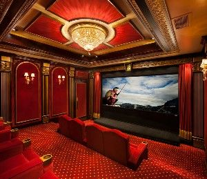 first impressions theme home theatre miami | Royal Home Theater--Luxurious royal red fabric walls ...