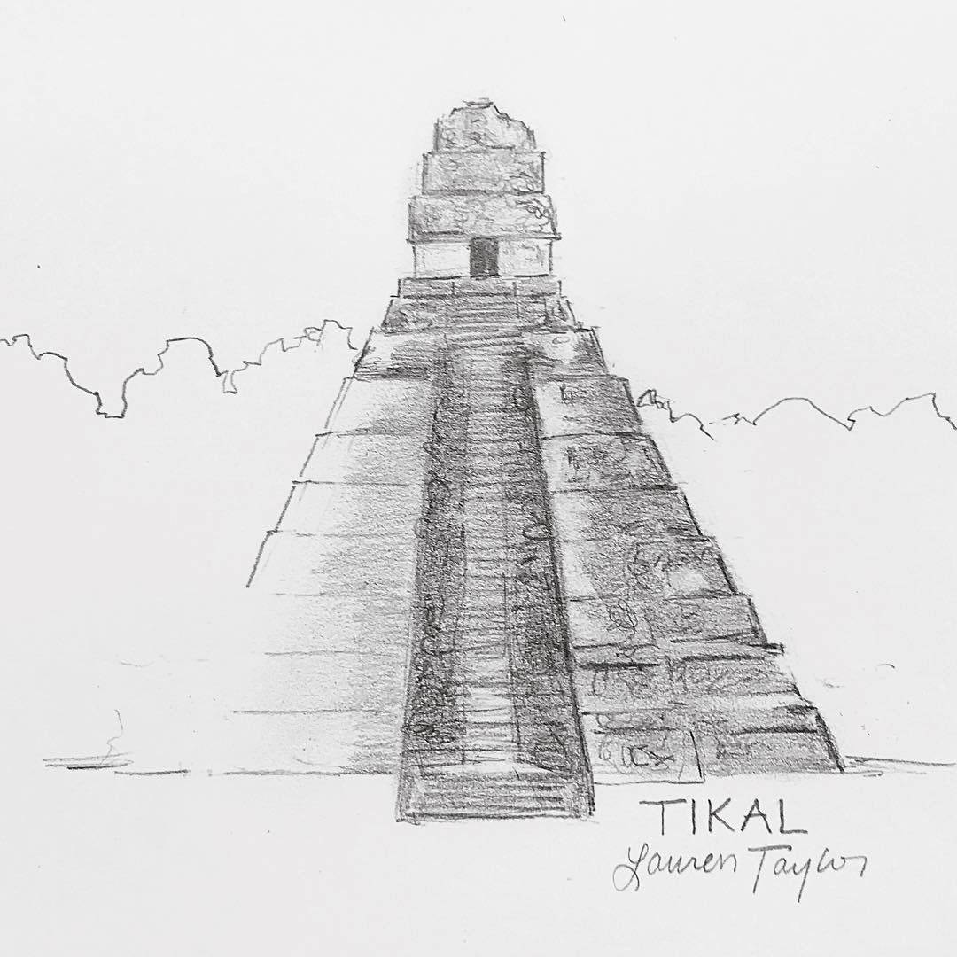 Quick sketch of the Mayan ruins at Tikal in Guatemala for ...
