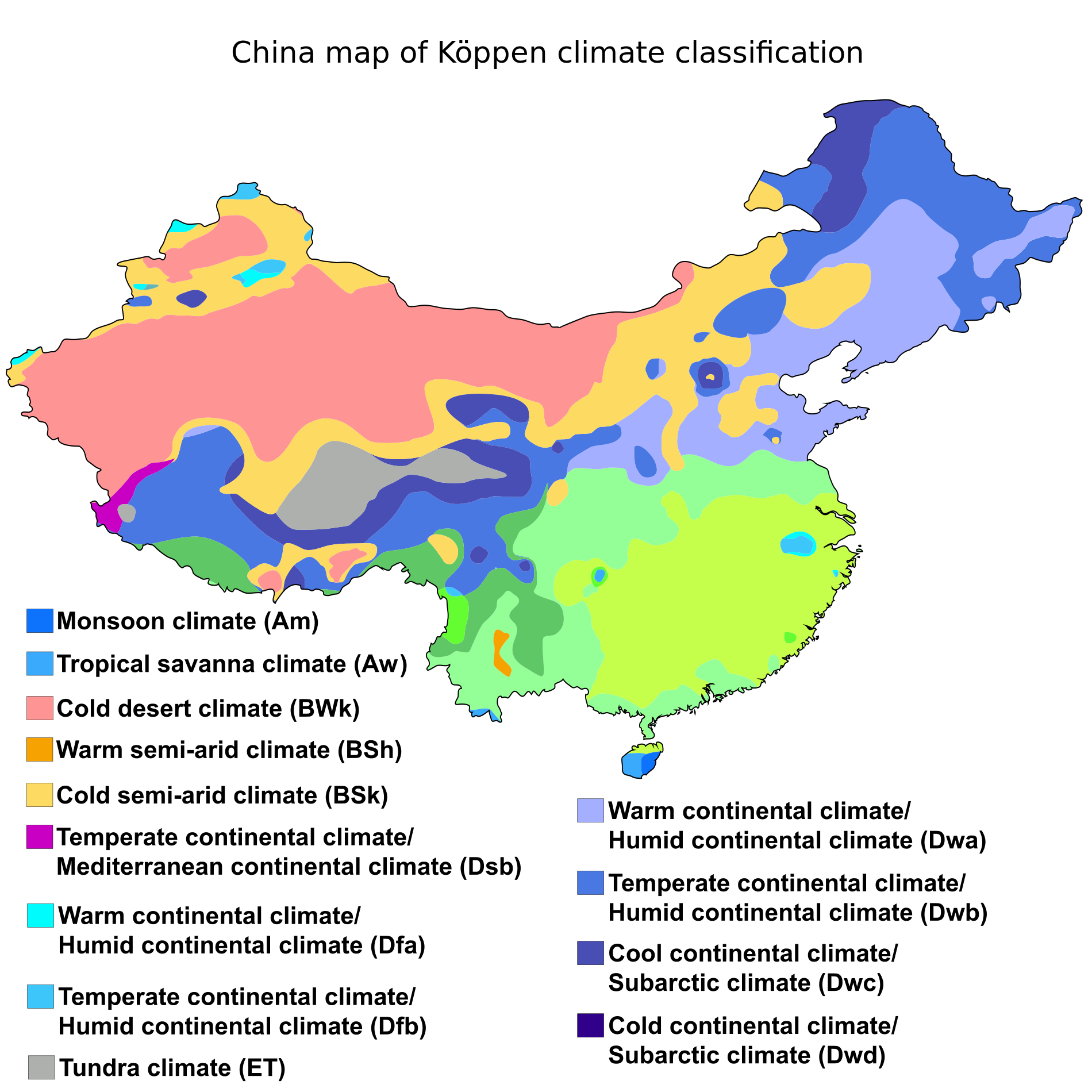 Koppen Climate Classification Map Of China