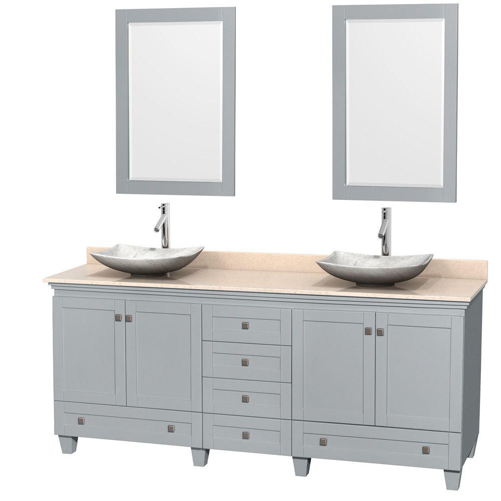 """Acclaim 80"""" Double Bathroom Vanity Set with Mirror"""